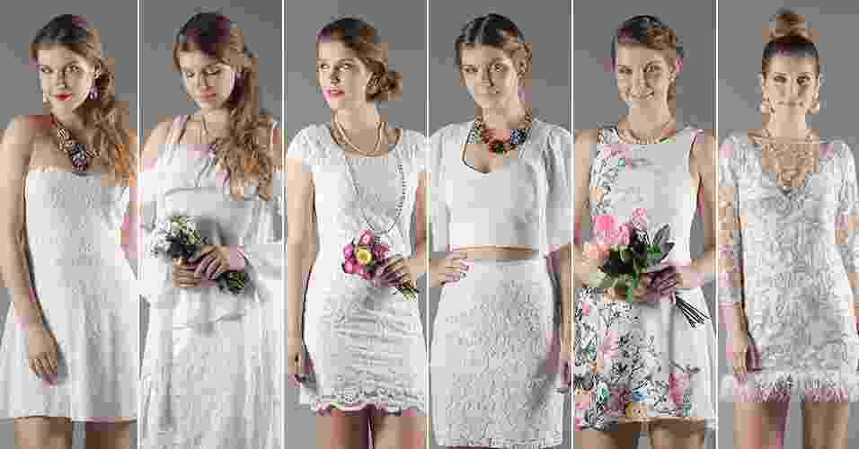 Um vestido de noiva custa em média R$ 6.000. Mesmo que você pesquise muito, encontrar um modelo por menos de R$ 1.000 é quase uma missão impossível. Se seu desejo é gastar pouco, que tal desapegar dos exageros casamenteiros e investir em uma cerimônia ou festa mais simples e intimista? Assim, é possível montar seu look de noiva em lojas populares e estar linda sem gastar muito. A seguir, veja como montar um look completo de noiva a partir de R$ 224 - Reinaldo Canato/UOL