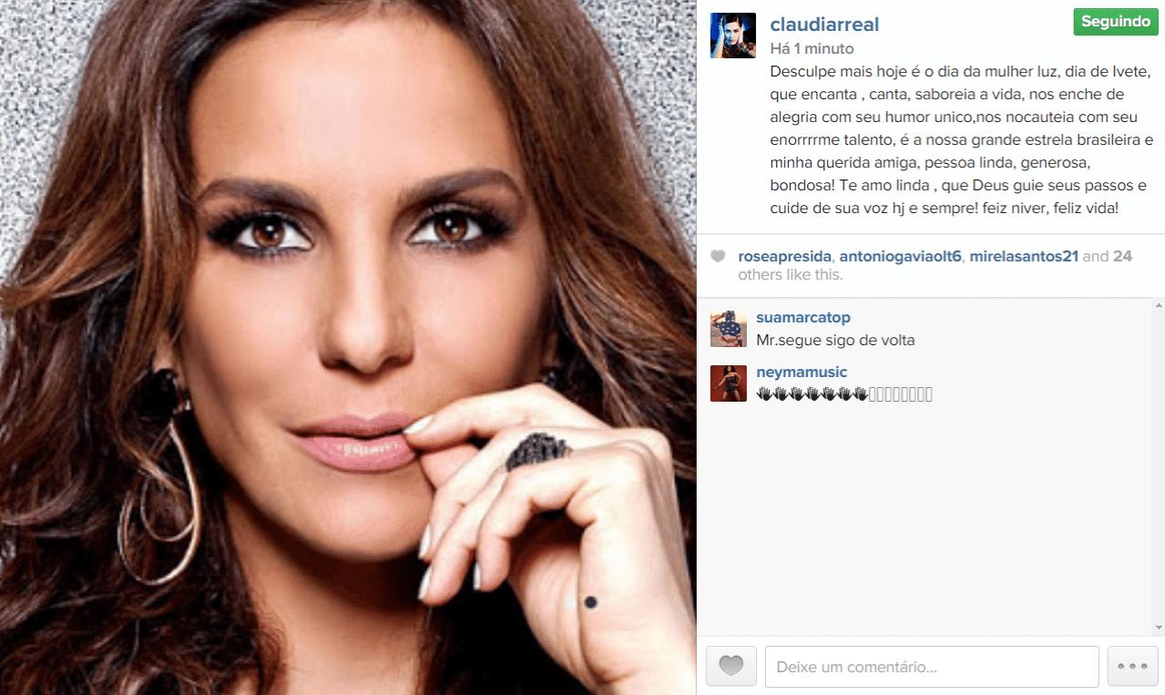 27.mai.2015 - Ivete Sangalo completa 43 anos e uma das primeiras a dar os parabéns para a cantora, na madrugada desta quarta-feira, foi Claudia Raia através de seu Instagram