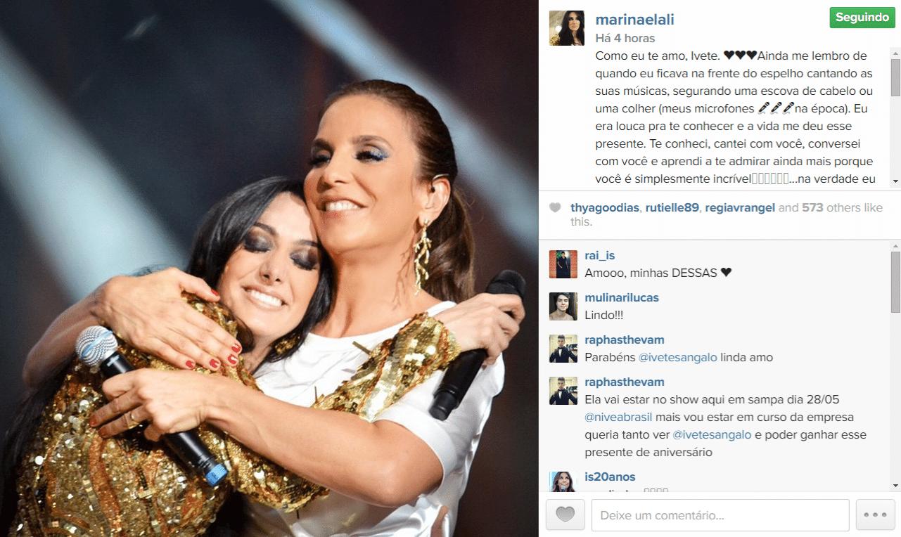 27.mai.2015 - Marina Elali comemora o aniversário de Ivete Sangalo com uma foto carinhosa das duas na madrugada desta quarta-feira.