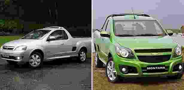 Chevrolet Montana antiga e nova - Arte UOL Carros - Arte UOL Carros