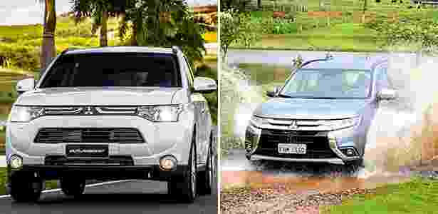 Mitsubishi Outlander 2016 e 2015 - Arte UOL Carros - Arte UOL Carros