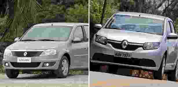 Renault Logan novo e antigo - Arte UOL Carros - Arte UOL Carros
