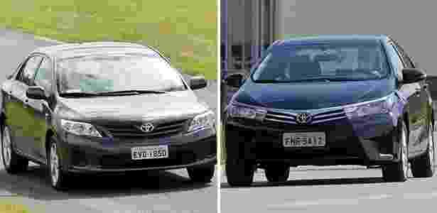 Corolla novo e antigo - Arte UOL Carros - Arte UOL Carros
