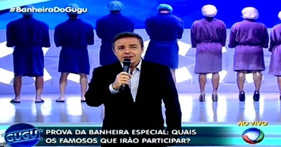 28.mai.2015 - Gugu Liberato faz mistério para apresentar quem serão os novos participantes da edição especial da
