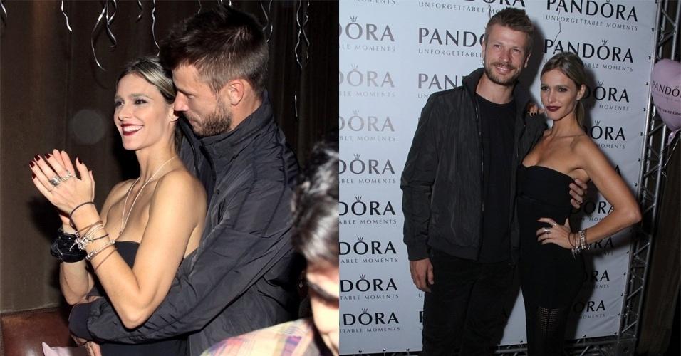 28.mai.2015 - Rodrigo Hilbert e Fernanda Lima se namoram durante evento realizado por uma grife joalheira na piscina do Hotel Fasano, na zona sul do Rio de Janeiro, na noite desta quinta-feira