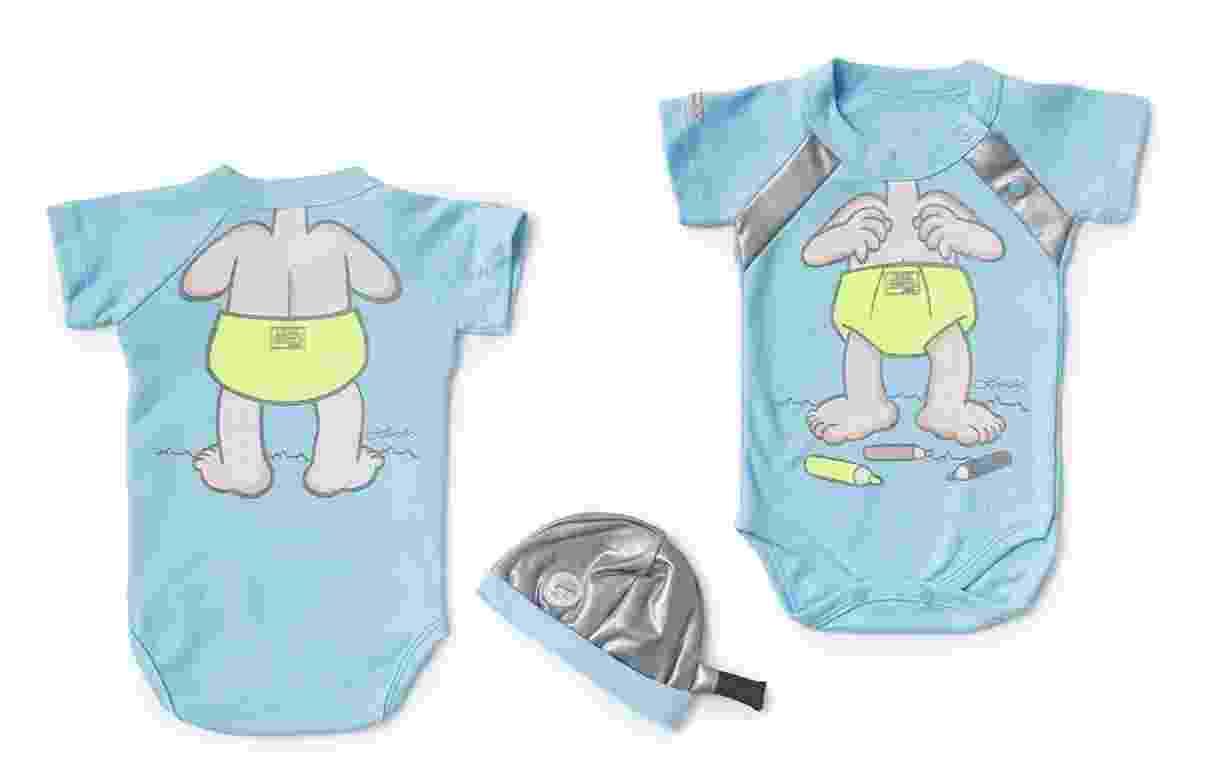 Um dos destaques é o body infantil com estampa do Menino Maluquinho e touca de cabeça que imita a panela do personagem, da Rêve D'or. R$ 89,80. Disponível nos tamanhos P, M e G - Divulgação