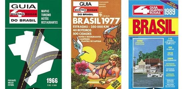 Três edições do Guia 4 Rodas: em 1966, em 1977 e 1989 - Reprodução/Editora Abril