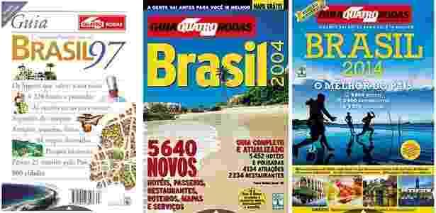 Três edições do Guia 4 Rodas: em 1997, 2004 e 2014 - Reprodução/Editora Abril