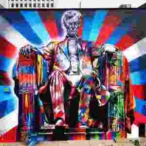 O ex-presidente norte-americano Abraham Lincoln (1809-1865) grafitado pelo artista brasileiro Eduardo Kobra na cidade de Lexington, Kentucky - Arquivo Pessoal