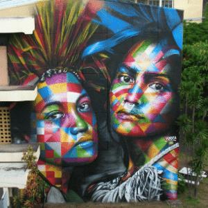 """Mural """"Nativas"""", recém-grafitado pelo brasileiro Eduardo Kobra no Taiti - Arquivo Pessoal"""