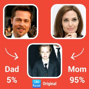 Ao analisar Shiloh, filha dos atores Brad Pitt e Angelina Jolie, o resultado foi que a menina se parece mais com a mãe - Reprodução/ Like Parent