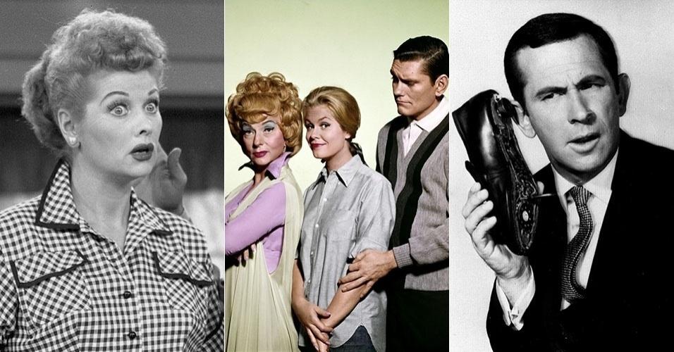 """Montagem com imagens das séries """"I Love Lucy"""", """"A Feiticeira"""" e """"Agente 86"""""""