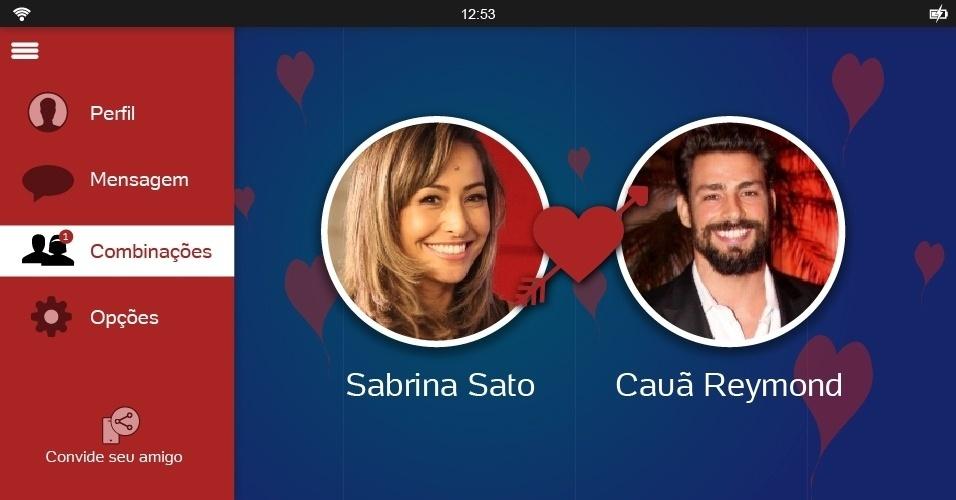 Solteira desde o fim de maio, Sabrina poderia dar match com Cauã Reymond. O ator, que já foi casado com Grazi Massafera, é um dos solteirões mais cobiçados atualmente e costuma ficar com mulheres ?bonitonas? como a japa