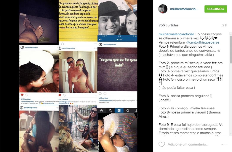 Andressa Soares, a Mulher Melancia, fez uma grande montagem com nove fotos ao lado do namorado, o cantor Thiago Soares, narrou na legenda cada detalhe dos momentos especiais e se declarou para o amado na madrugada desta sexta-feira