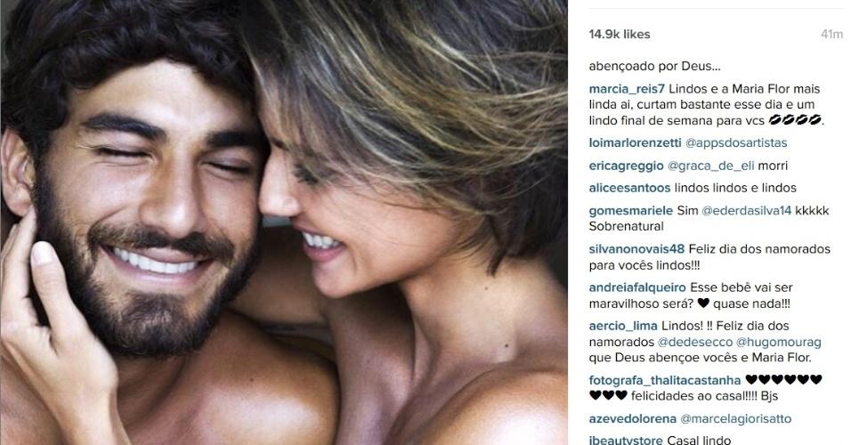 Grávida de sua primeira filha, Débora Secco usou seu Instagram para homenagear seu namorado Hugo Moura.