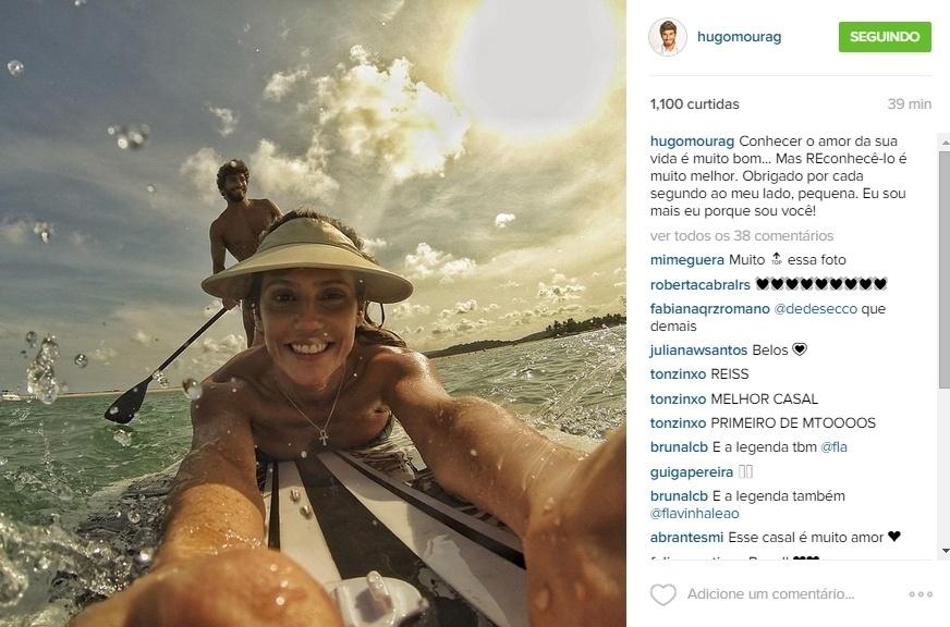 Namorado de Deborah Secco e pai da menina que ela está esperando, Hugo Moura fez uma declaração de amor para a atriz neste Dia dos Namorados. Segundo o surfista, conhecer o amor de sua vida é muito bom.