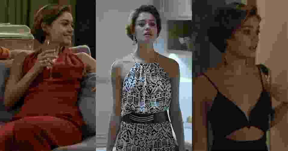 """Alice, interpretada pela atriz Sophie Charlotte na novela """"Babilônia"""", da Globo, tem chamado a atenção do público por seu estilo sofisticado, prático e minimalista. O macacão está entre as peças mais usadas pela personagem, que varia cortes, tecidos, estampas e cores em diferentes looks.  A seguir, veja onde encontrar modelos de R$ 69,90 a R$ 599 - Reprodução/TV Globo"""