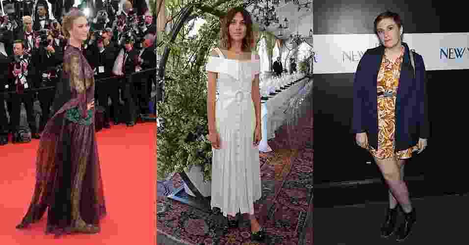 Karlie Kloss (à esquerda), Alexa Chung (ao centro)  e Lena Dunham de calçados de salto baixo - Getty Images/MontageUOL