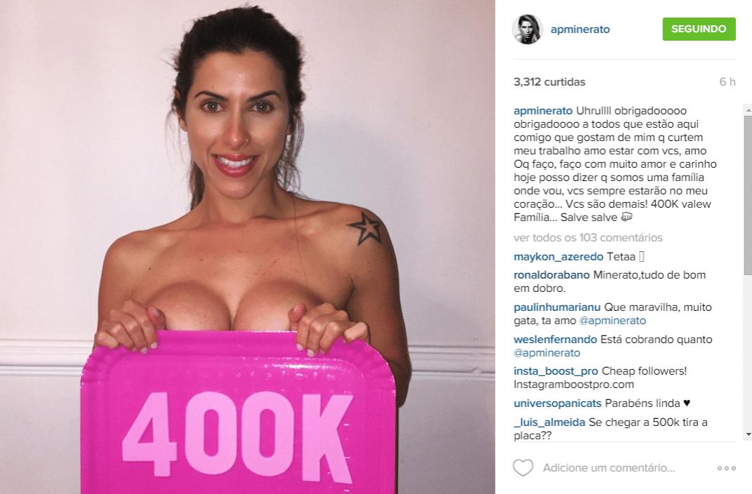 15.jun.2015 - Ana Paula Minerato faz topless para comemorar a marca de 400 mil seguidores em sua conta do Instagram na noite desta segunda-feira