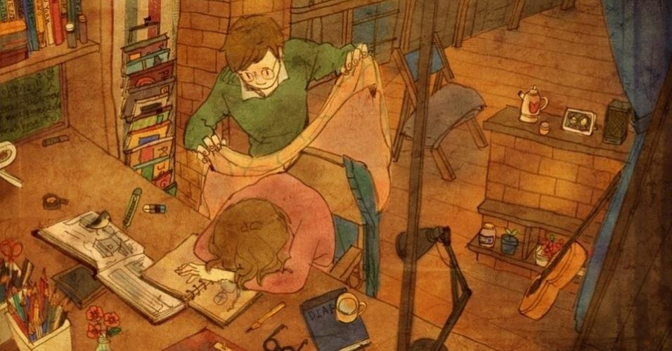 """A ilustração acima mostra um gesto simples de carinho e cuidado ao cobrir a parceira para que ela não pegue um resfriado. A imagem faz parte da série """"Love is"""", da artista coreana Puung, que decidiu retratar o amor presente nos pequenos gestos do dia a dia"""