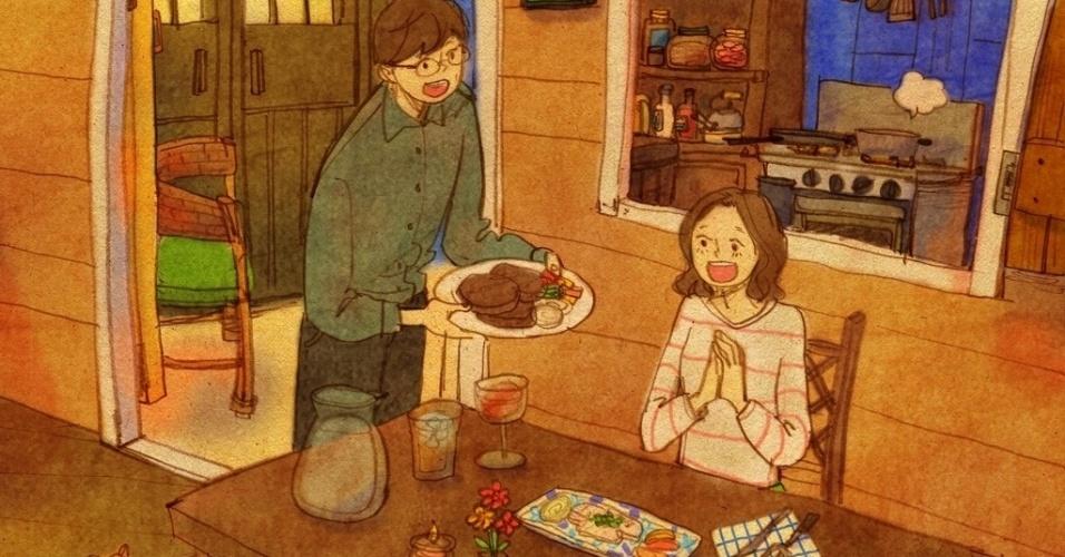"""A série de ilustrações """"Love is"""" (Amor é, em tradução livre) foi criada pela artista coreana que se identifica como Puuung. As imagens mostram cenas cotidianas que acontecem na vida de qualquer casa. """"Amor é algo com que todos nós podemos nos relacionar. E esse sentimento está em coisas tão simples que podemos facilmente negligenciar no nosso dia a dia. Minha ideia é encontrar o sentido do amor e transformá-lo em arte"""", diz ela em seu Facebook"""