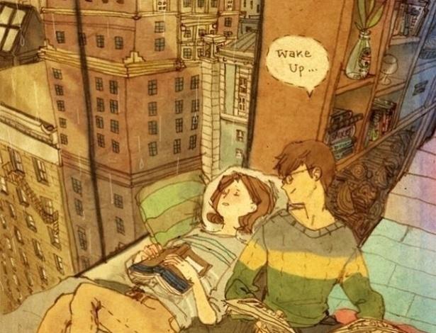 """A série de ilustrações """"Love is"""" (Amor é, em tradução livre) foi criada pela artista coreana que se identifica como Puuung.  O objetivo da artista é retratar o amor presente nos pequenos gestos do dia a dia"""