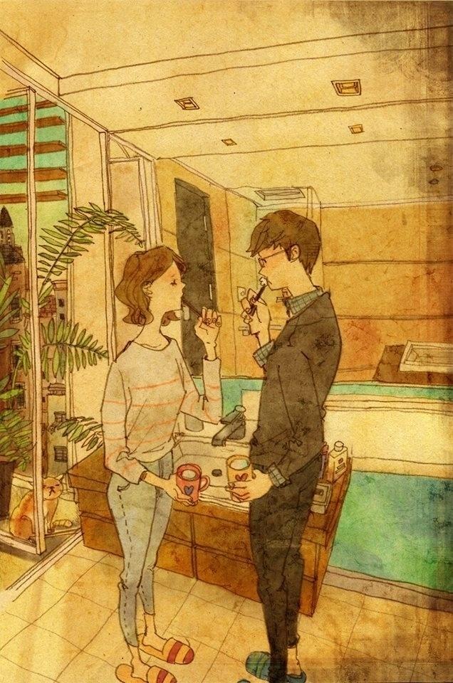 """Dessa vez, Puuung retrata um casal escovando os dentes juntos. Essa é mais uma ilustração que faz parte da série """"Love is"""", da artista coreana Puung, que decidiu retratar o amor presente nos pequenos gestos do dia a dia"""