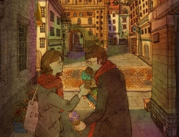 """Dividir uma sobremesa, deixar seu parceiro provar o seu sorvete... Esses gestos estão presentes no cotidiano de tantos casais e, para a artista coreana Puuung, mostra o amor em seus pequenos detalhes. A cena faz parte da série """"Love is"""" (Amor é, em tradução livre), criada por ela"""