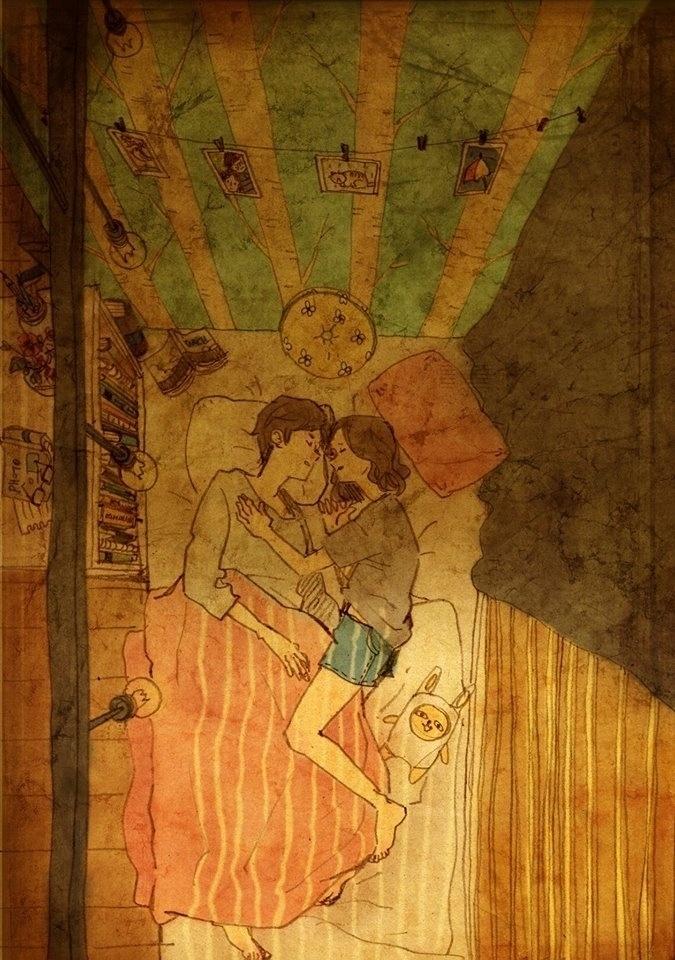 """Dormir junto é uma coisa comum para os casais. Porém, a artista coreana Puuung usou o momento a dois para retratar mais uma imagem para a sua série """"Love is"""", que busca o amor está presente nos pequenos gestos do dia a dia"""