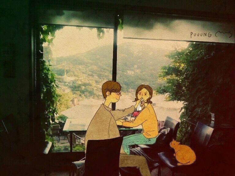 """Ilustrações da artista coreana Puuung, que faz parte da série """"Love is"""" (Amor é, em tradução livre). O projeto retrata os diversos momentos do dia a dia de casais, que mostram que o amor está presente nas coisas mais simples"""
