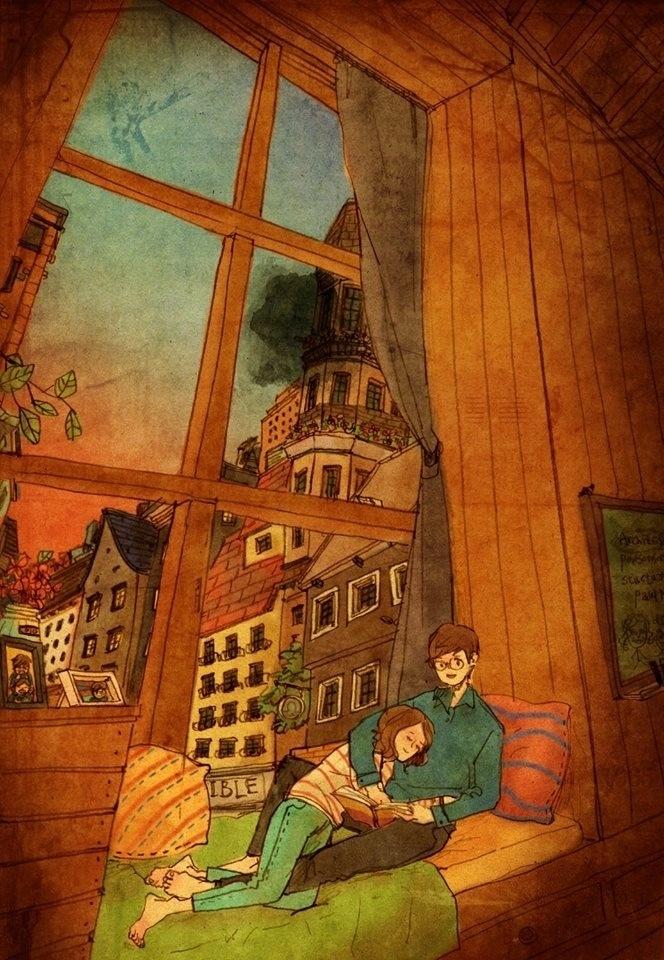 """Mais uma das ilustrações da artista coreana Puuung para a série """"Love is"""" (Amor é, em tradução livre)"""