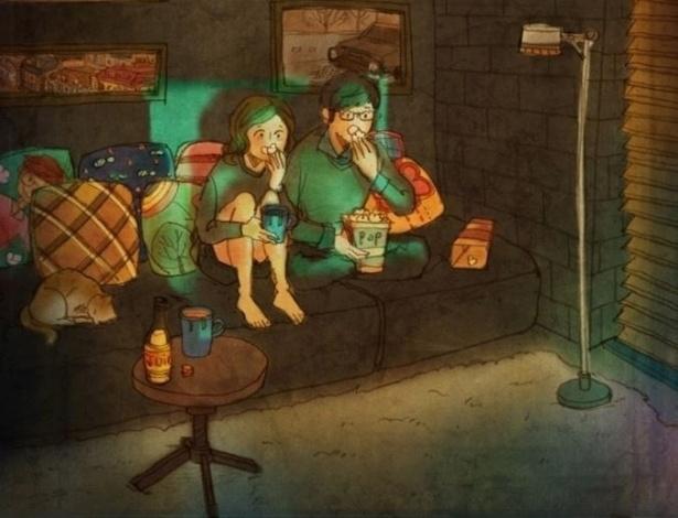 """Mais uma das ilustrações da artista coreana Puuung para a série """"Love is"""" (Amor é, em tradução livre). O objetivo de Puuung é retratar o amor que está presente nos pequenos gestos do dia a dia dos casais"""