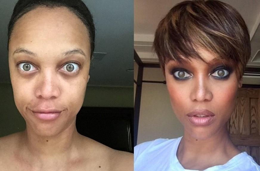 """17.jun.2015 - A modelo e apresentadora do """"American?s Next Top Model"""" Tyra Banks, de 41 anos, criou uma campanha para pedir às mulheres que publiquem fotos sem qualquer tipo de maquiagem ou filtros no Instagram"""