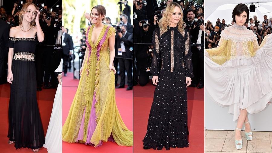 Lily-Rose Depp (à dir.), Riley Keough, Vanessa Paradis e Soko com diferentes versões do modelo - Getty Images