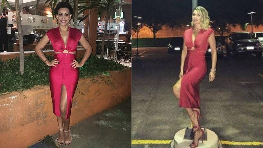 A auxiliar de RH Patrícia Barbeiro com o vestido emprestado por Flávia Alessandra - Reprodução/Instagram