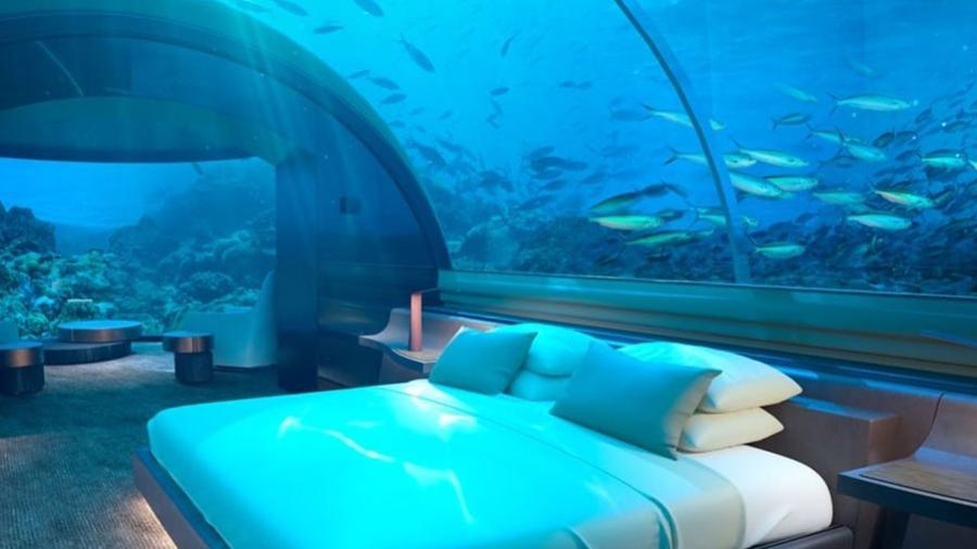 42a3c6b7862 Hotel de luxo nas Maldivas inaugura quarto submerso com teto ...