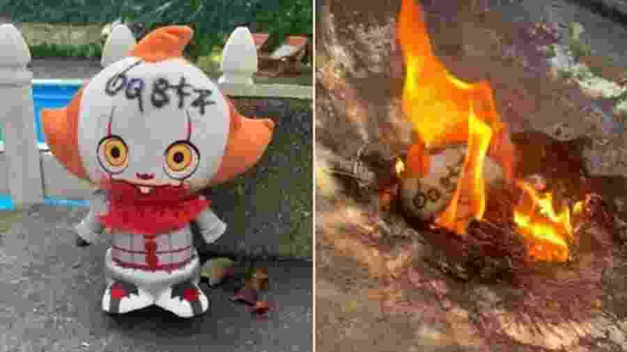 Boneco do palhaço Pennywise queimado por norte-americana - Reprodução/Renee Jensen