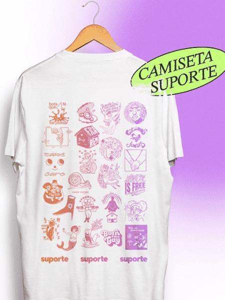 Camiseta conta com ilustrações feitas por 22 artistas diferentes para angariar recursos para a comunidade LGBTQ+ - Reprodução/Instagram @suporte.suporte