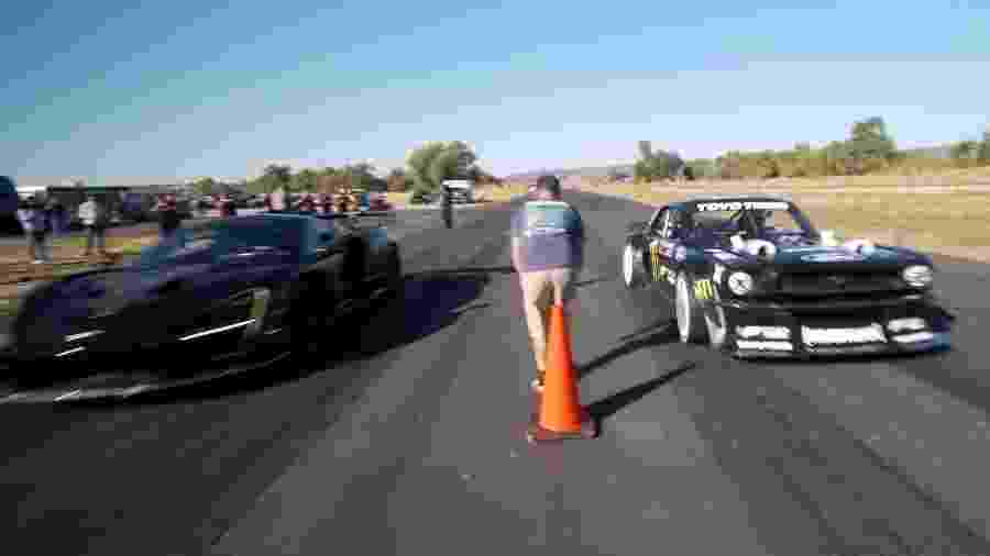 McLaren Senna contra Mustang Hoonicorn de Ken Block - Reprodução