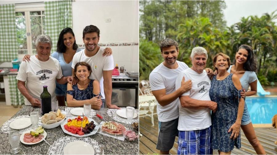 Mariano apresenta Jake Oliveira a seus pais - Reprodução/Instagram