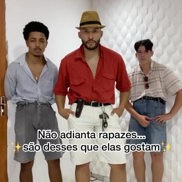 Orlandinho e seus amigos Anderson Souza e Thiago Silva viralizaram com o passinho brega no Instagram