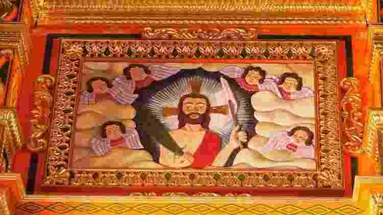 Ou esta imagem de Cristo ressuscitado em estilo barroco mestiço no altar principal da missão jesuíta de Concepción, no departamento de Santa Cruz, na Bolívia? - Getty Images / BBC News Brasil - Getty Images / BBC News Brasil
