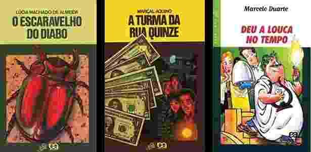 """Capas dos livros """"O Escaravelho do Diabo"""", """"A Turma da Rua Quinze"""" e """"Deu a Louca no Tempo"""", da Coleção Vaga-Lume - Reprodução"""
