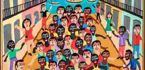 Pintura de arte naïf (ou  arte primitiva moderna) mostra largada de maratona - Jaime Acioli/Museu Internacional de Arte Naïf