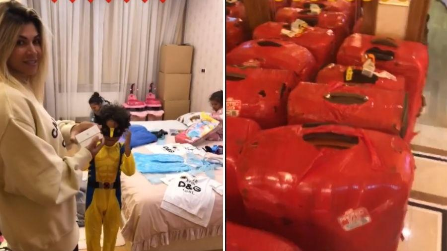 Dani Souza com os filhos e parte de suas mais de 20 malas - Reprodução/Instagram