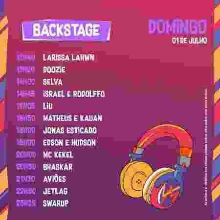 Horários do palco Backstage do VillaMix Festival Goiânia no domingo - Divulgação - Divulgação