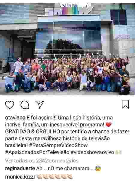 """Regina Duarte reclama que não foi convidada para a despedida do """"Vídeo Show"""" - Reprodução/Instagram/otaviano - Reprodução/Instagram/otaviano"""