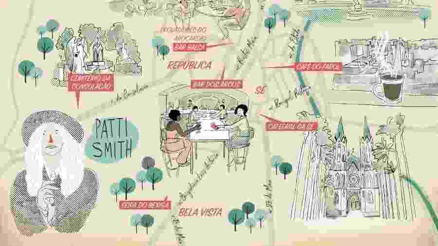 Mapa de São Paulo inspirado em Patti Smith - Reprodução