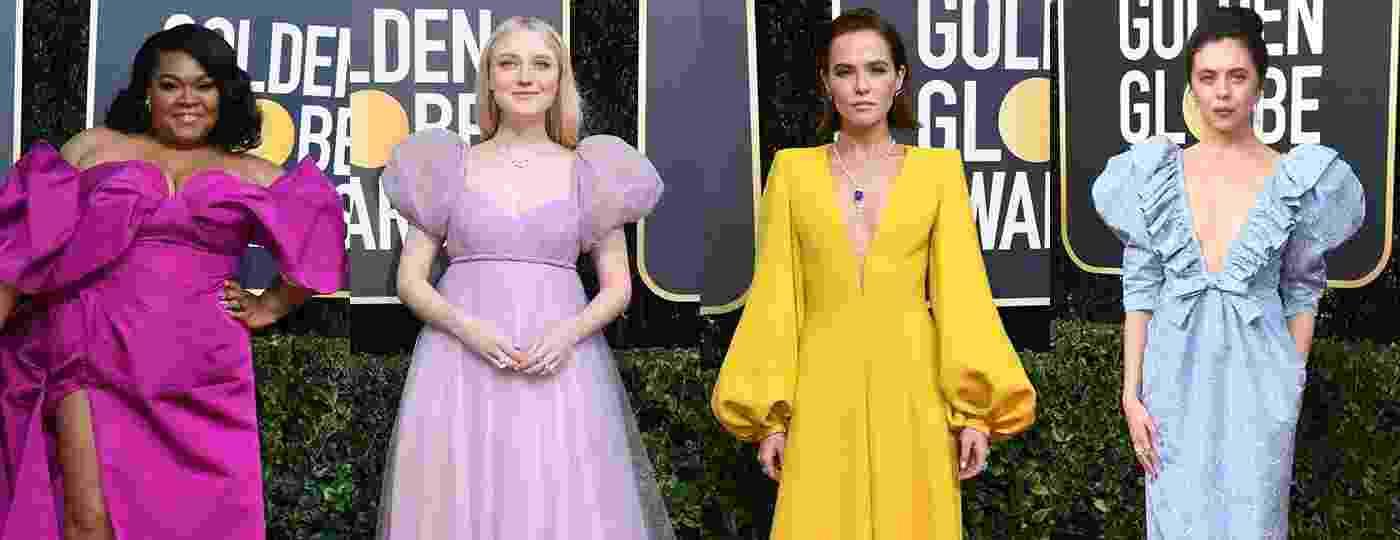 """Dakota Fanning, Da""""Vine Joy Randolph, Zoey Deutch e Bel Powley no tapete vermelho do Globo de Ouro - AFP e Getty Images"""