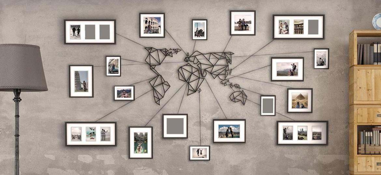 Sala de estar com decorações na parede, como quadro e instalação de estruturas - Reprodução/Pinterest